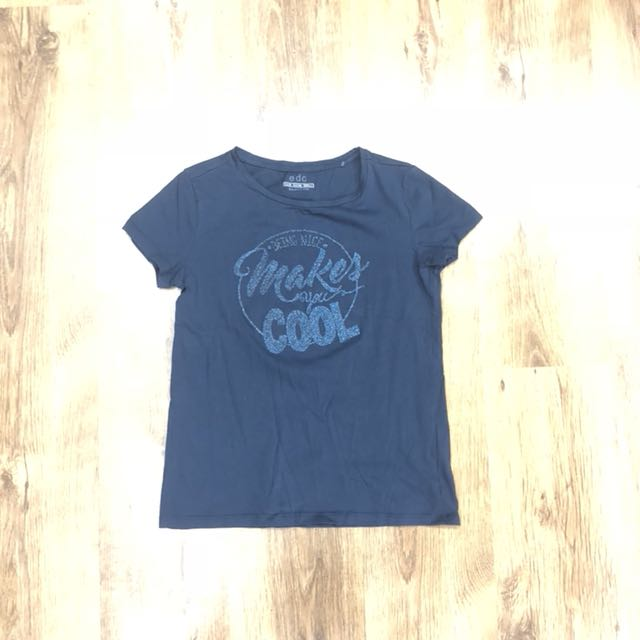 """ESPRIT """"Being Nice Makes You Cool"""" Glitter T-Shirt"""