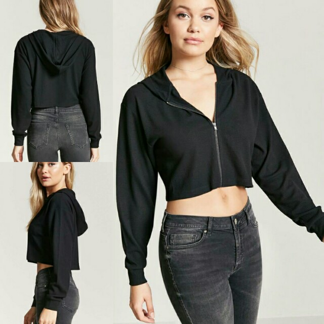 F21 Zip Front Ribbed Knit Crop Top Hoodie
