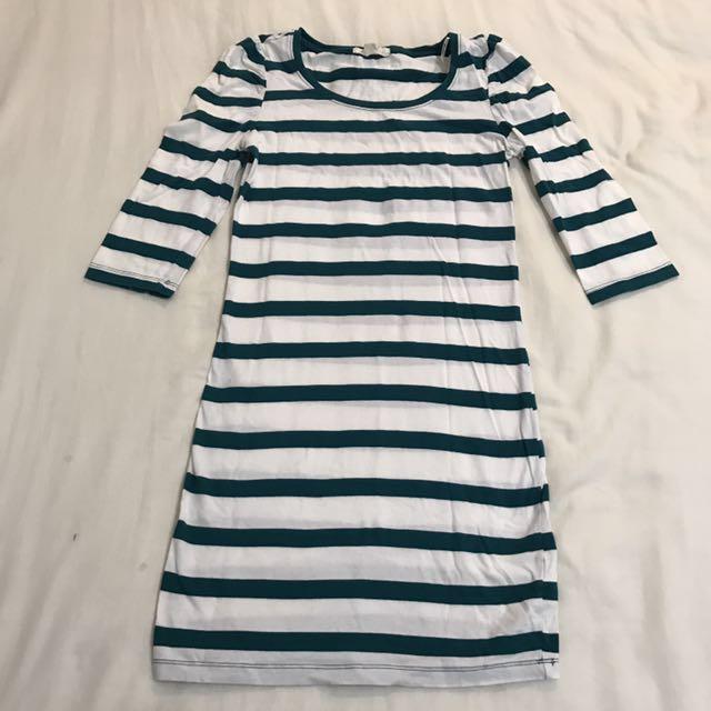 forever21 綠條紋七分袖長版上衣 #幫你省運費 #我的女裝可超取