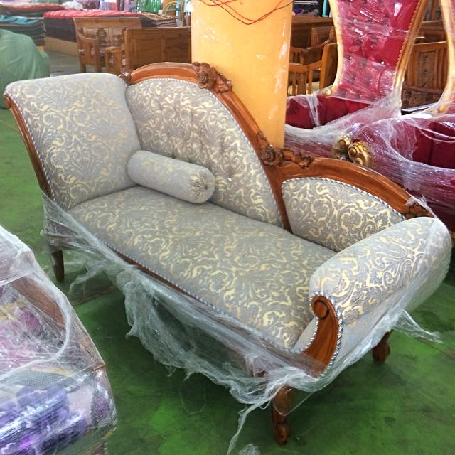 *FREE DELIVERY*Cleopatra Sofa Chaise Longue With High Quality Fabric & Kayu Jati