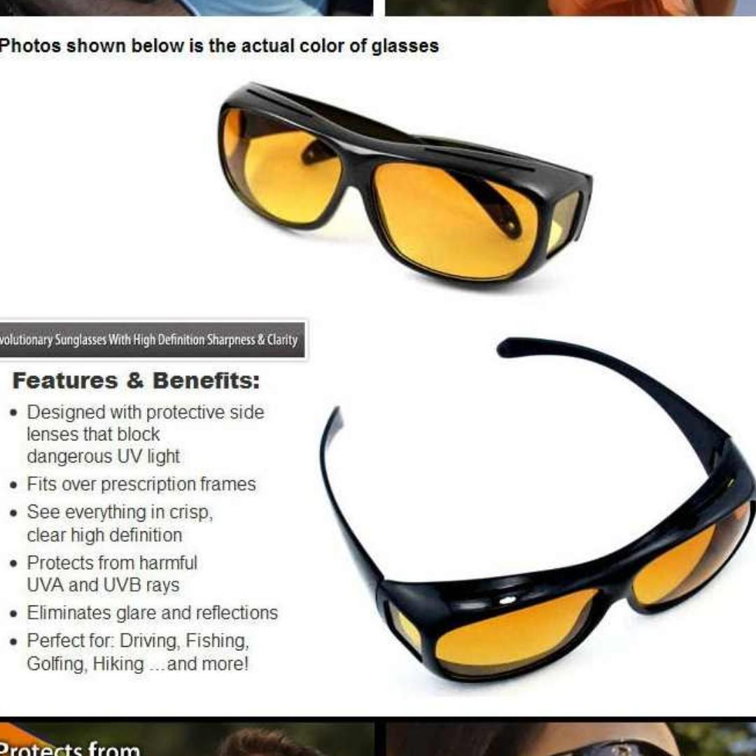 **FREE SHIPPING** 2pcs HD Vision Wrap Around Max Protection Driving Sunglasses