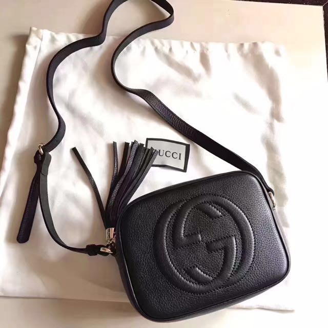 黑色荔枝紋雙G相機包
