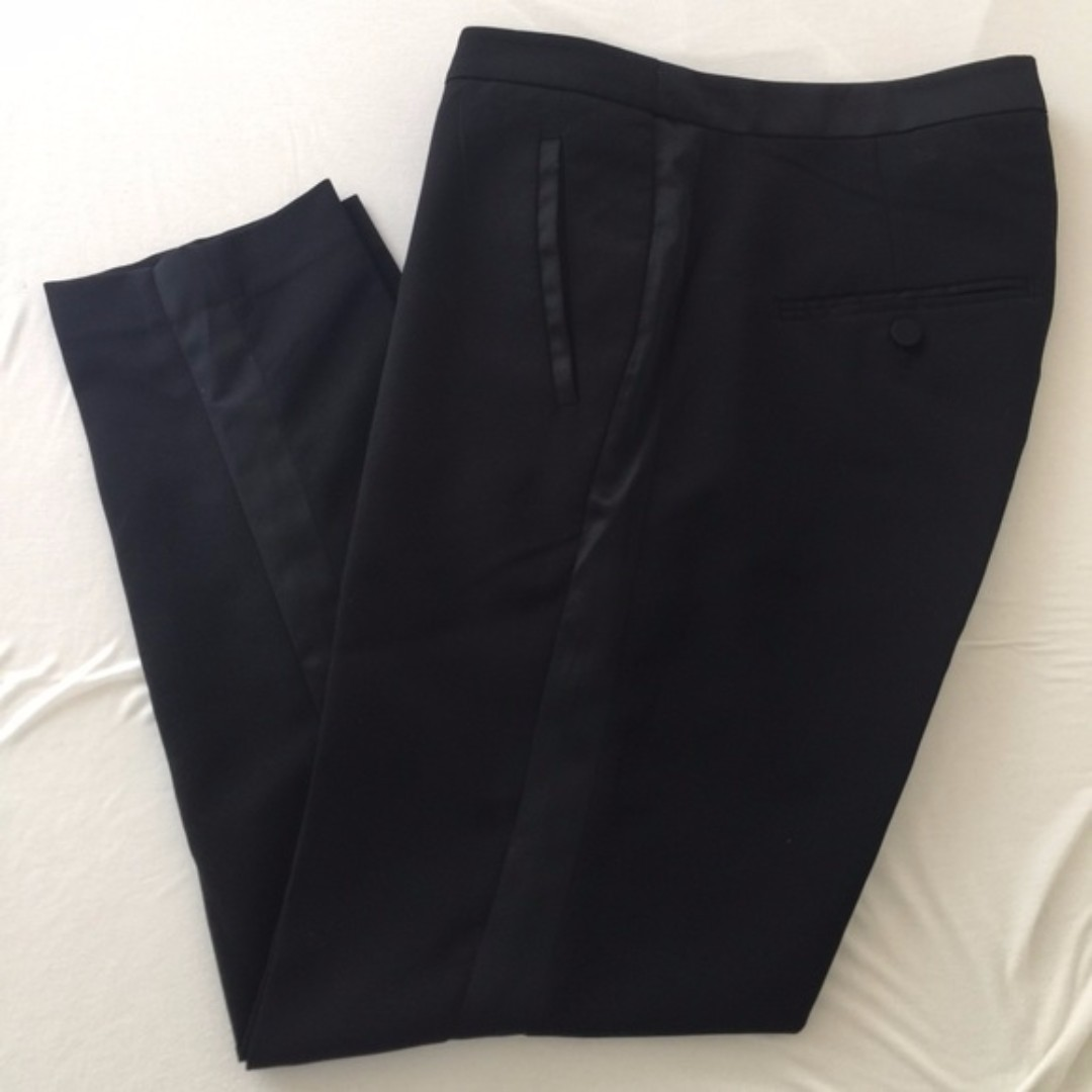 H&M Cropped Black Tuxedo Pants