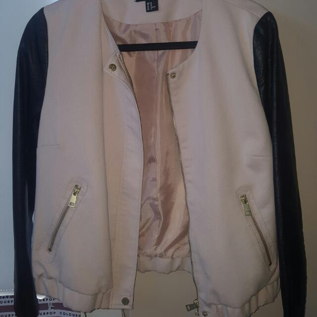 H&M Pink And Black Leather Jacket / Blazer