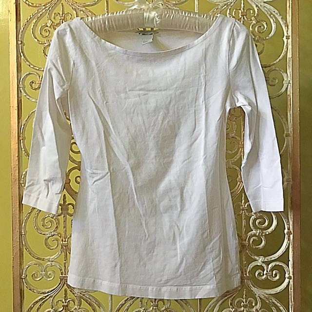 H&M white 3/4 sleeved top