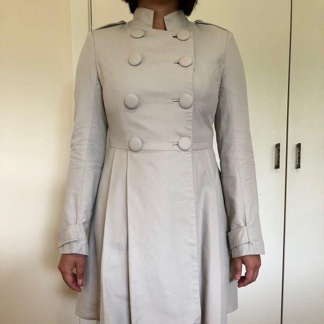 Honey & Beau military style beige spring jacket size 8