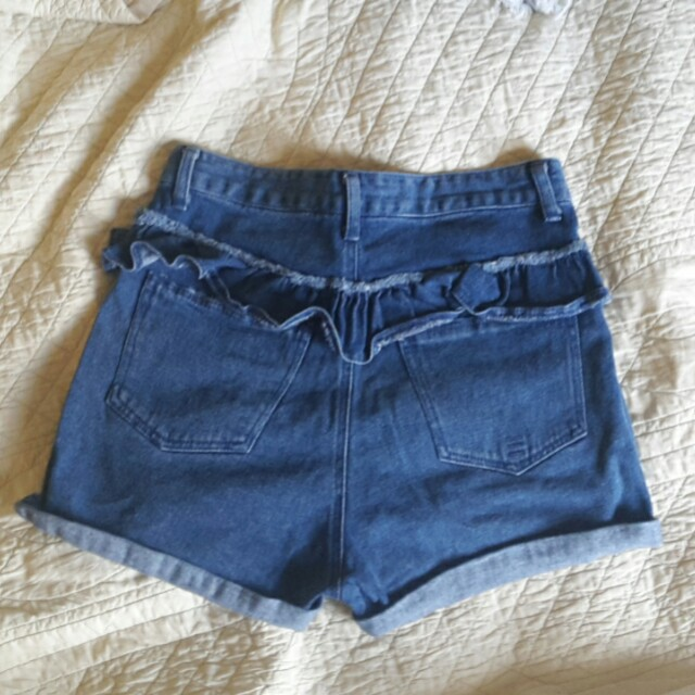 HUFFER NZ LABEL high waisted blue denim shorts 80's 90's vintage sz 10 new General pants peppermayo
