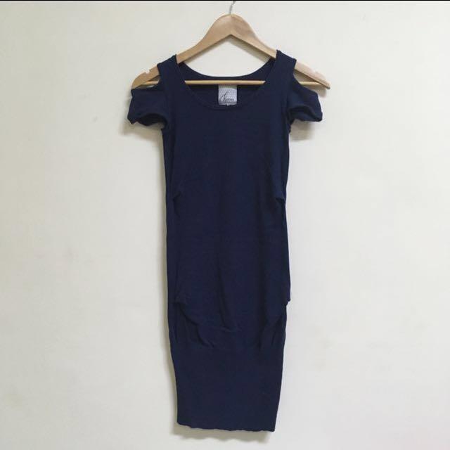 Kashieca Blue Cold Shoulder Dress