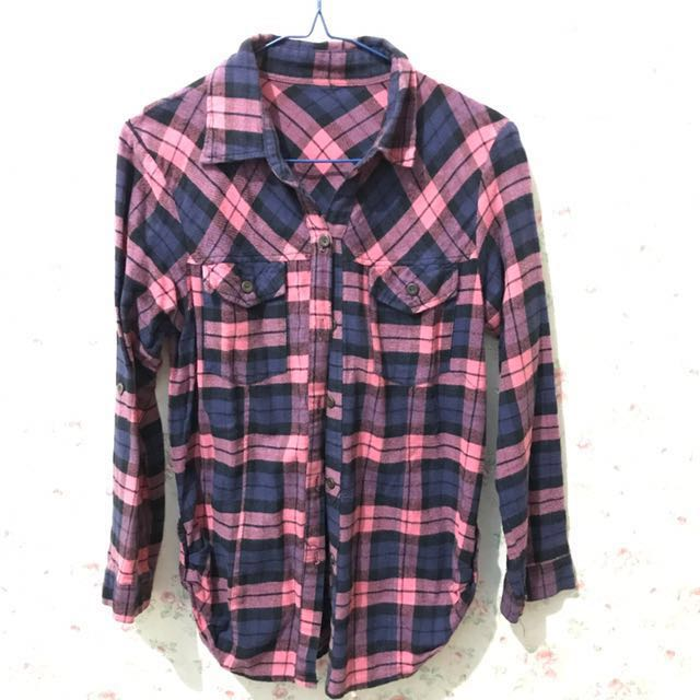 Kemeja Flanel No Brand Size Fit To L