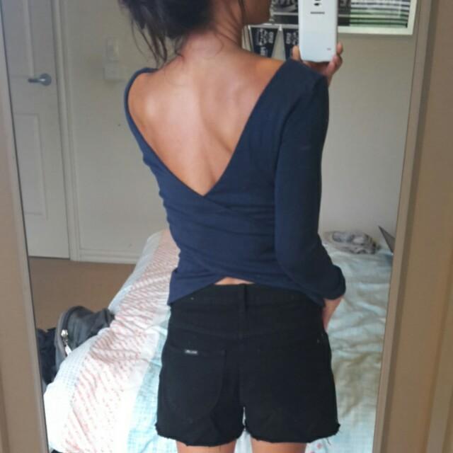 KOOKAI Backless wrap low v back long sleeves top sz 1 fits 6/8