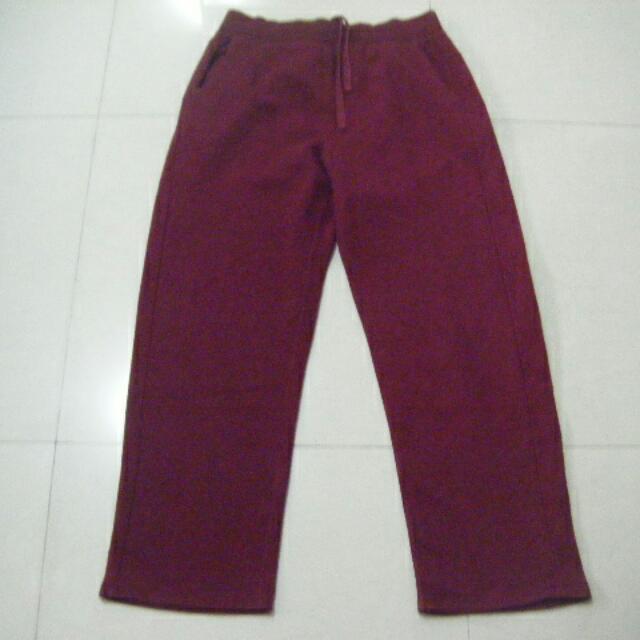 Lativ 暗紅色內刷毛冬季 棉褲 L