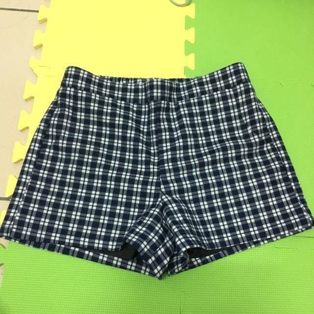 lativ法蘭絨格紋短褲 藍色 L size #限時免運費
