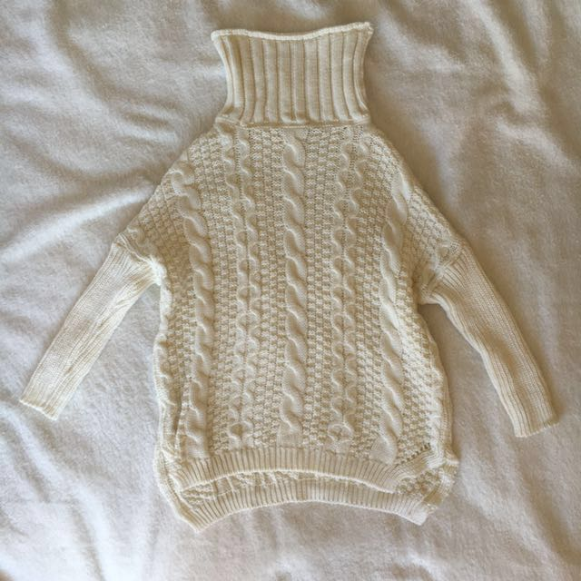 LS high roll neck cable knit