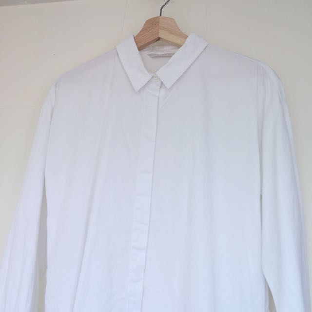 MEIER. Q 極簡長版暗釦口袋白襯衫 #我的女裝可超取