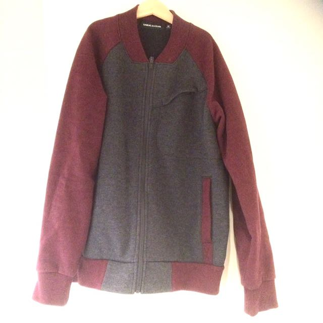 Men jacket red grey