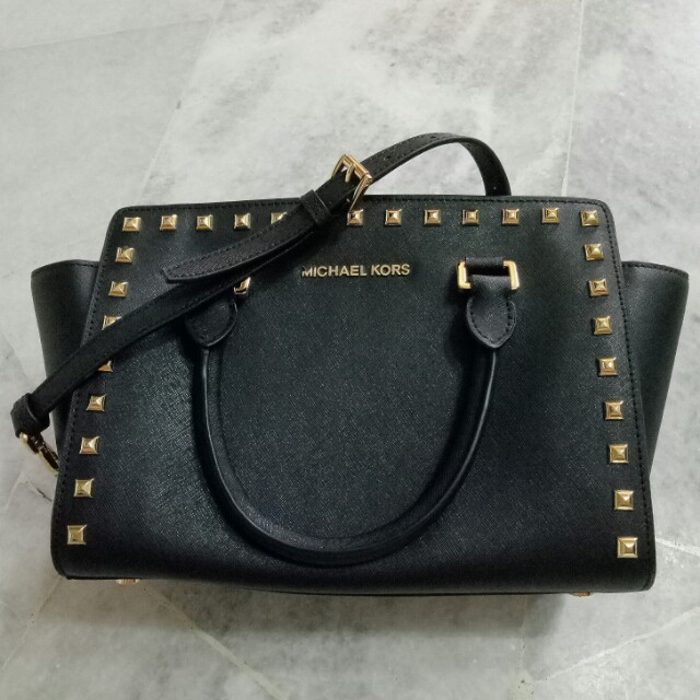 5c1118519b7e Michael Kors Selma Small Studded Saffiano Leather Satchel