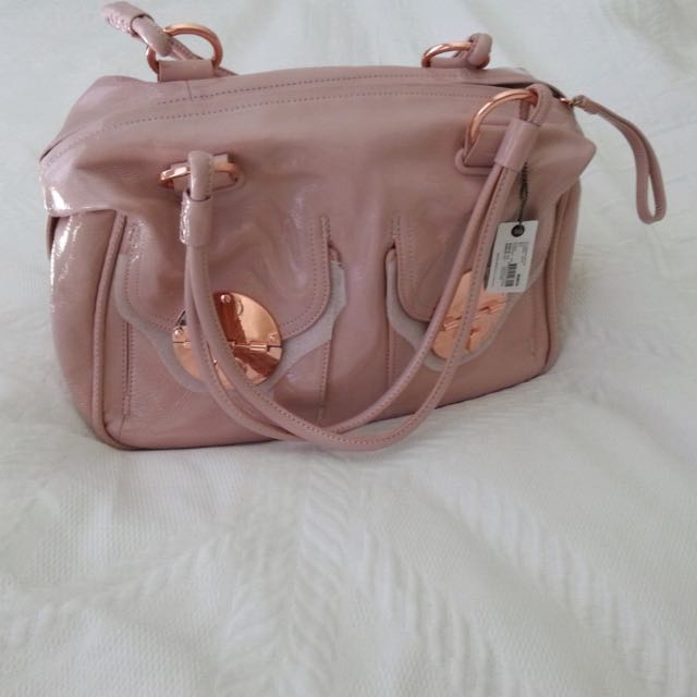 Mimco Soft Pink Patent Leather Turnlock Bag