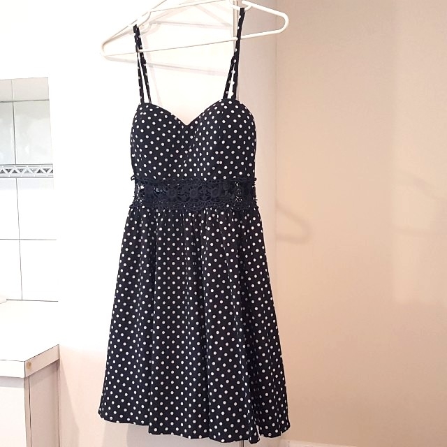 Navy polka dot 50s dress