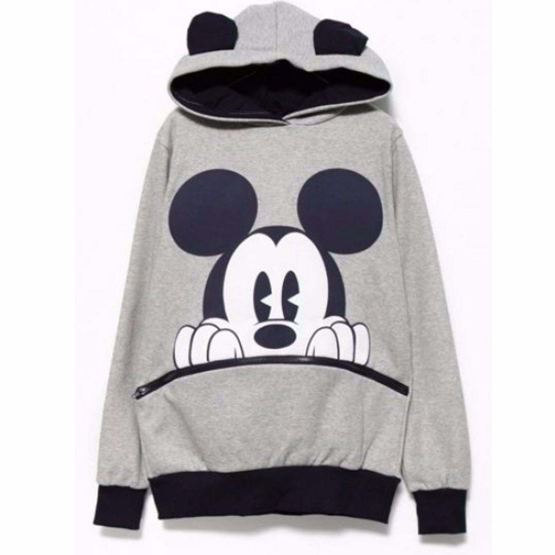 Oversized Mickey Minnie mouse ear hoodie zip pocket grey and white