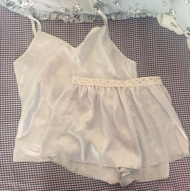 Pale blue silky cami and shorts pj set