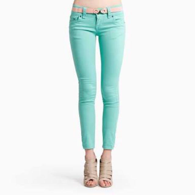 Pastel mint green skinny jeans
