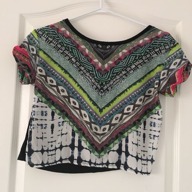 Patterned crop top (S)