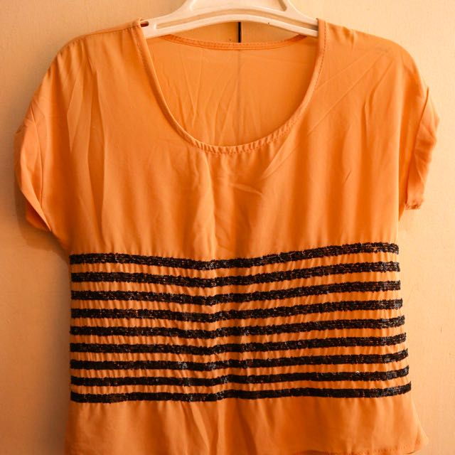 Peach Chiffon Top with Black Lines