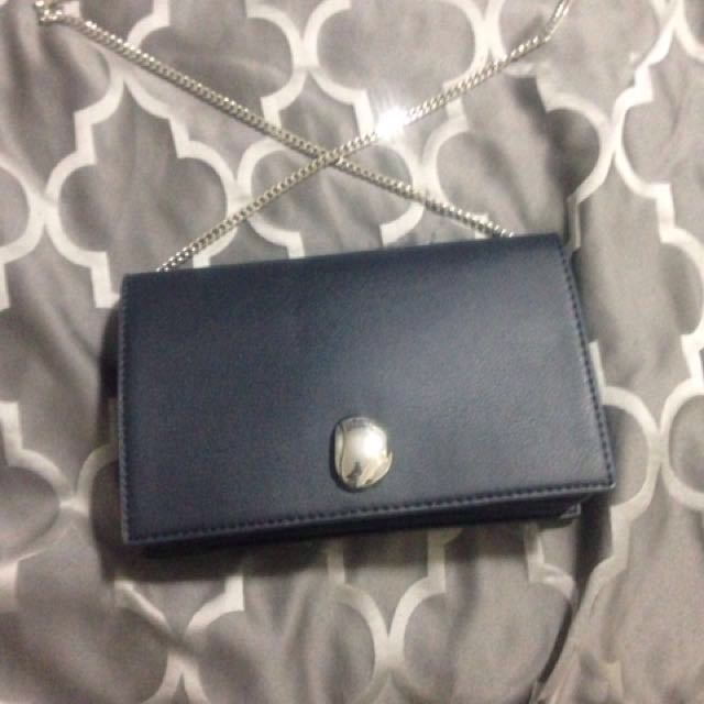 🔥Price Drop 🔥TRF - Navy Blue clutch with silver strap