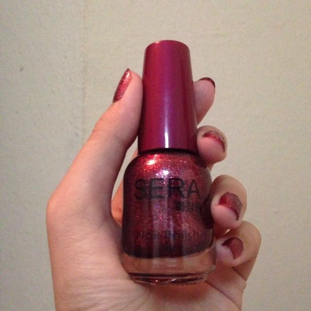 SERA Korean Red Glitter Nail Polish, Health & Beauty, Perfumes, Nail ...