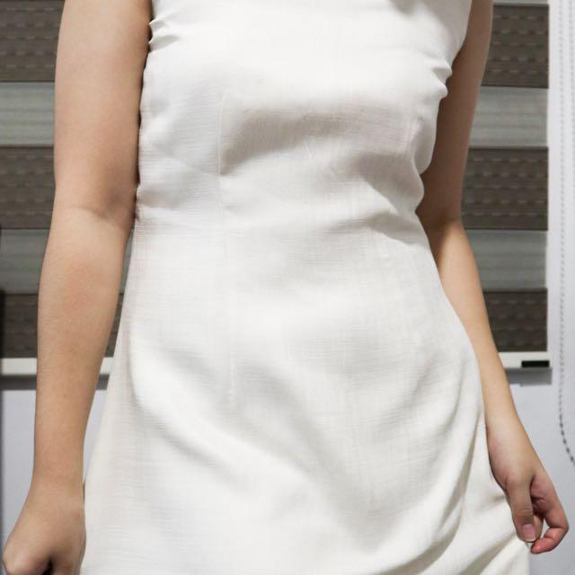 Simple White Plain Dress