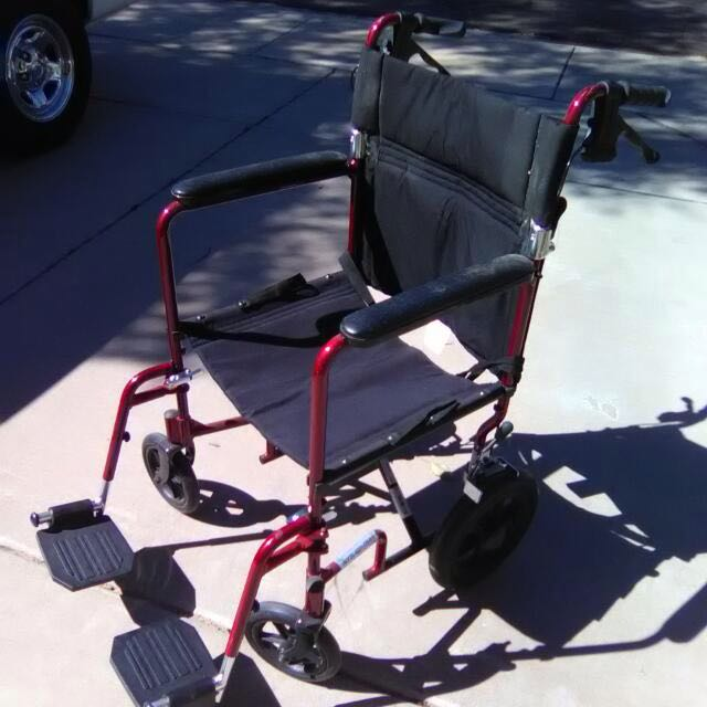 "Slightly Used NOVA Medical Products 19"" Lightweight Transport Chair, Red"