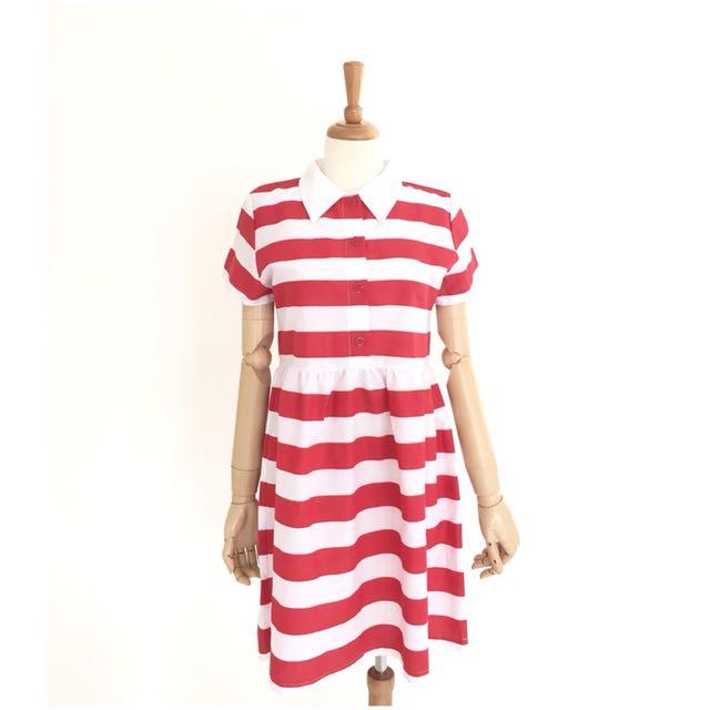 Stripes Gathered Dress