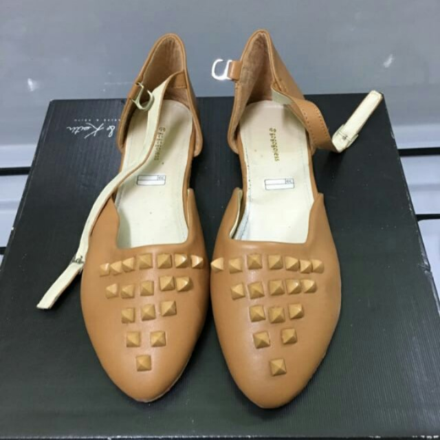 Studded Flat Shoe with Straps