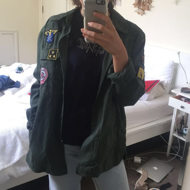 Vintage Army coat with patches