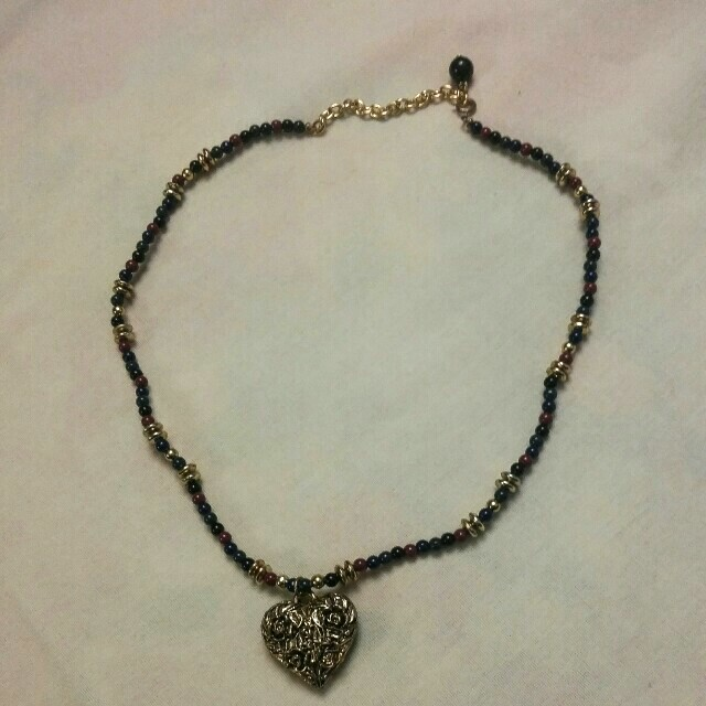 Vintage Bead Necklace With Golden Heart Pendant