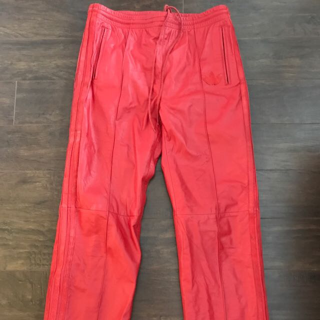 Vintage red leather fiya leather track pants