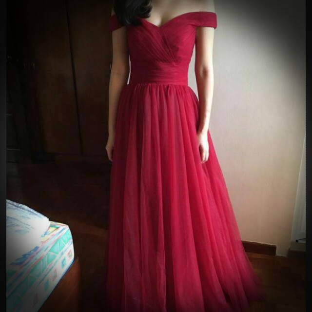 Red Evening Gown - Wedding, Women\'s Fashion, Clothes, Dresses ...
