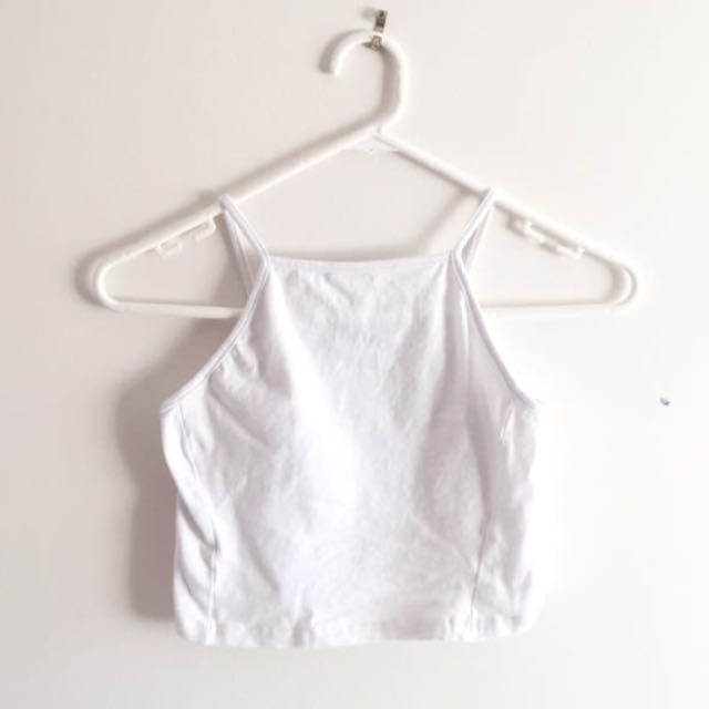White Halter neck crop top size S