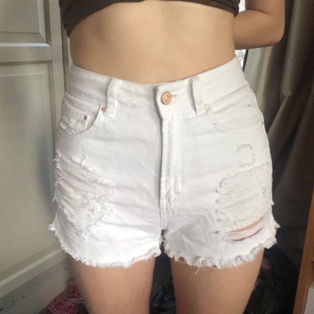 White high waisted denim shorts size 6