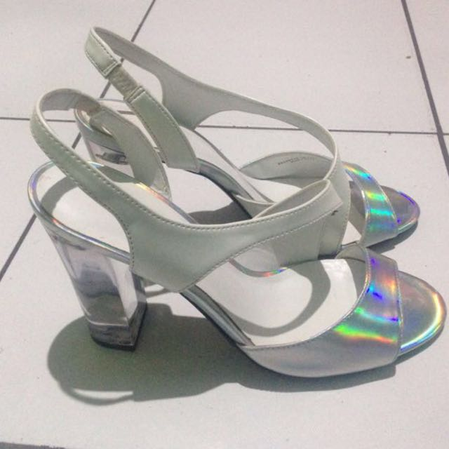 White reflective clear white Heels