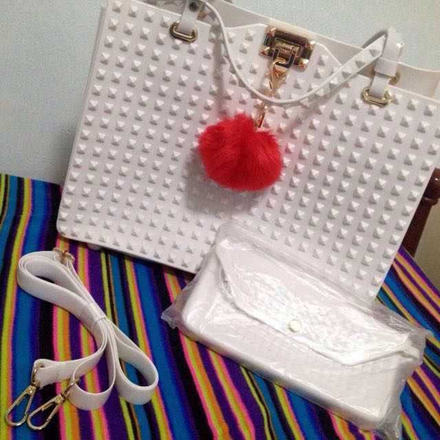 White studded shoulder bag