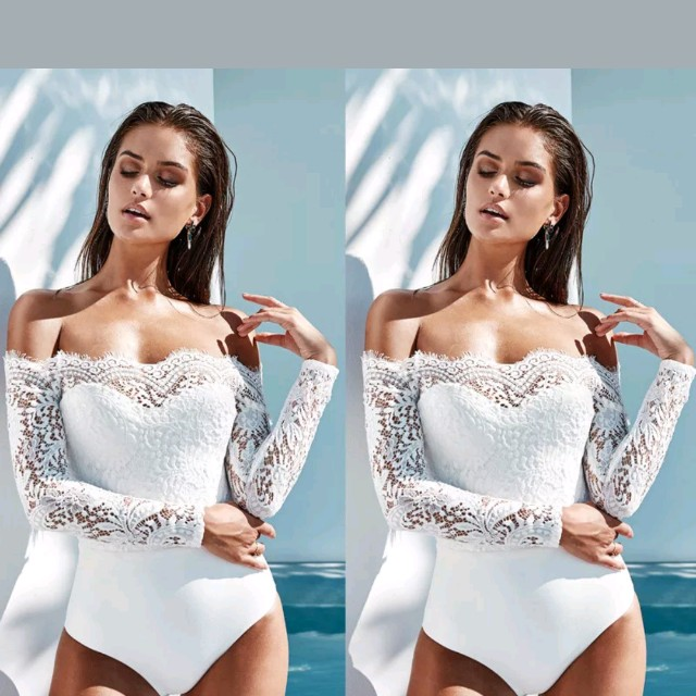 Womens off the shoulder white lace bodysuit