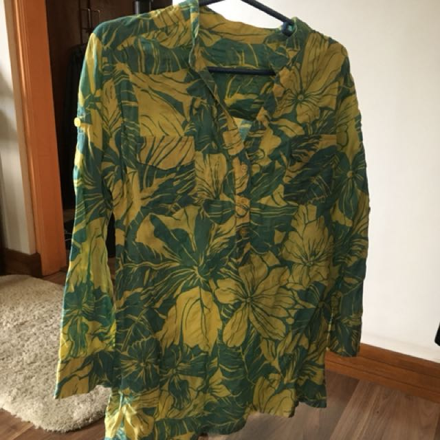 Yellow and green 3/4 blouse