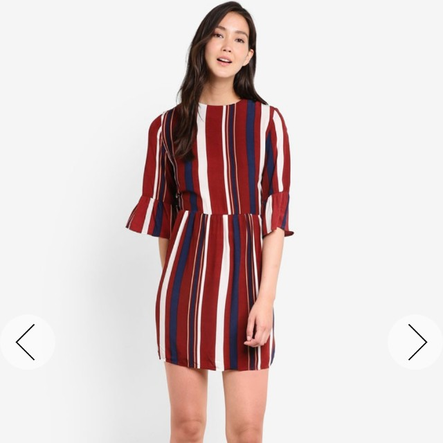 1958e453a Zalora Ruffle Sleeve Fit and Flare Dress, Women's Fashion, Clothes ...