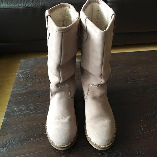 Zara女童粉色時尚鋪絨保暖長靴