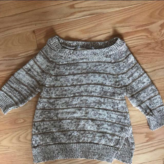 Zara Beige And Gold Stripped Sweater