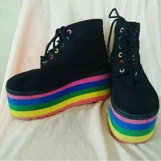 platform japanese wedge shoes