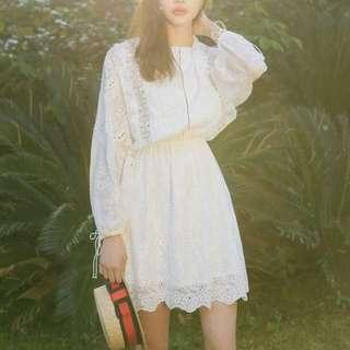 Gypsy Boho-inspired White Lace Dress, Boho Lace Dress