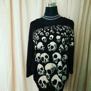 punk long gothic top skull