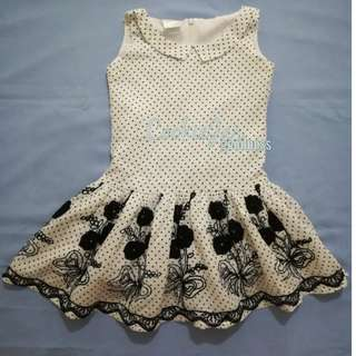 Black and White Dotted Girl's Dress